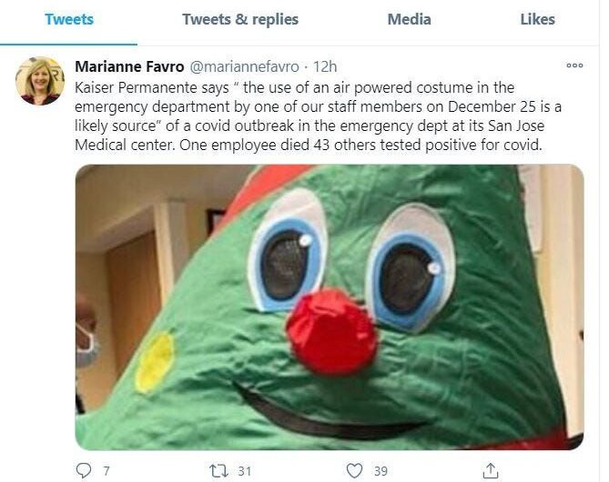 Inflatable Christmas tree costume linked to 44 COVID-19 infections and one death at California hospital